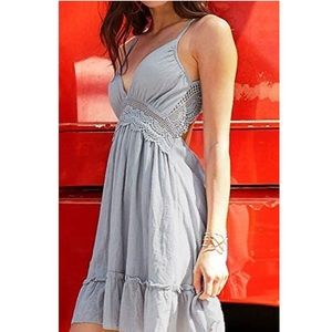CUPSHE  Mist blue Lace Ruffle Dress